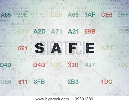 Safety concept: Painted black text Safe on Digital Data Paper background with Hexadecimal Code