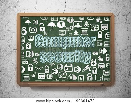 Security concept: Chalk Blue text Computer Security on School board background with  Hand Drawn Security Icons, 3D Rendering
