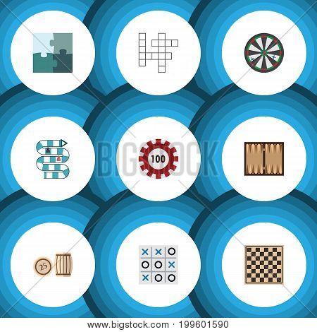 Flat Icon Games Set Of Multiplayer, Arrow, Dice And Other Vector Objects