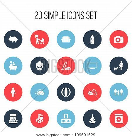 Set Of 20 Editable Kin Icons. Includes Symbols Such As Perambulator, Car, Tub And More