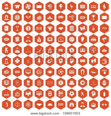 100 totalizator icons set in orange hexagon isolated vector illustration