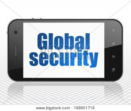 Safety concept: Smartphone with blue text Global Security on display, 3D rendering