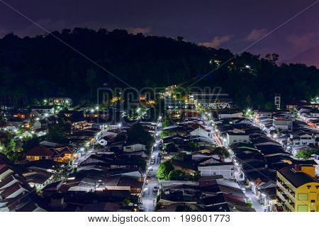 View From High Building See To Amphoe Kathu In Night Time, Phuket Thailand