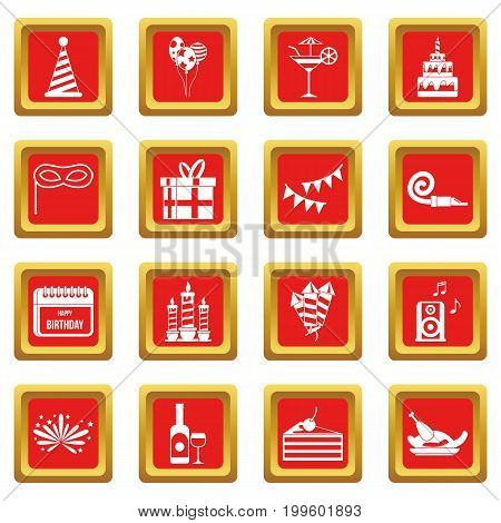 Happy Birthday icons set in red color isolated vector illustration for web and any design