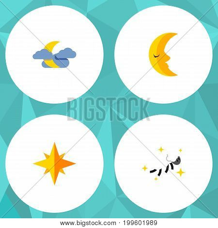 Flat Icon Midnight Set Of Night, Asterisk, Moon And Other Vector Objects