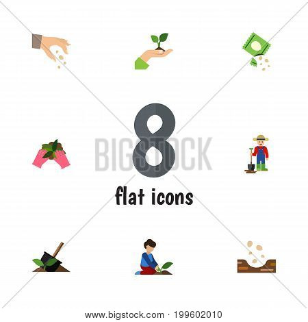 Flat Icon Seed Set Of Sow, Plant, Packet And Other Vector Objects