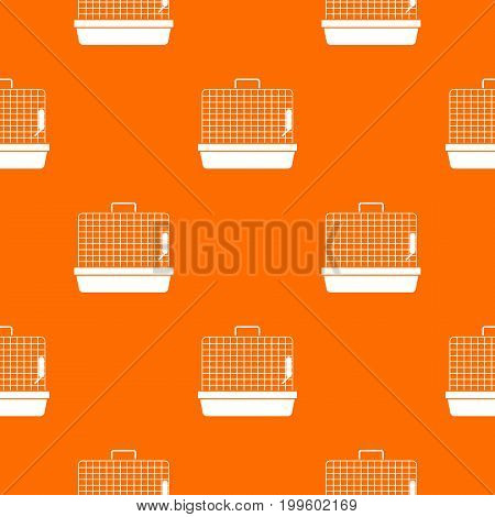 Cage for birds pattern repeat seamless in orange color for any design. Vector geometric illustration