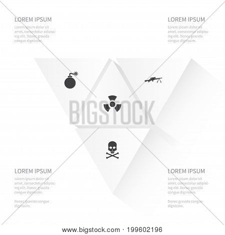 Icon Conflict Set Of Biology Peril, Bone, Bomb And Other Vector Objects