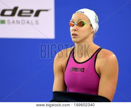 Hong Kong China - Oct 30 2016. Olympian swimmer Evelyn VERRASZTO (HUN) at the start in Women's Butterfly 200m Final. FINA Swimming World Cup Finals Victoria Park Swimming Pool.