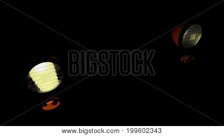 Headlights of a car approaching in the dark. 3D render background