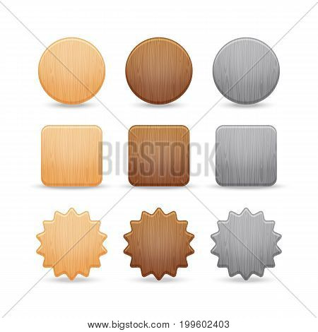 Set of wooden buttons. Wooden star button and wood icon brown interface. Vector illustration