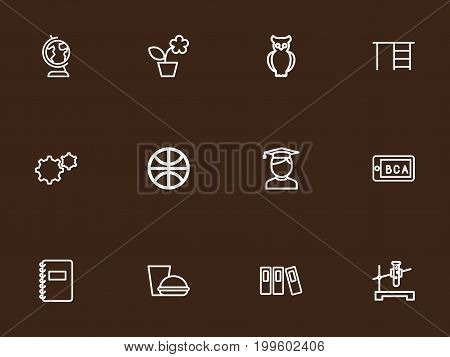 Set Of 12 Editable Teach Outline Icons. Includes Symbols Such As Folder, Student, Earth And More