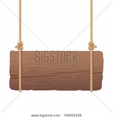 Wooden singboard hanging on ropes. Signboard wood with rope. Vector illustration