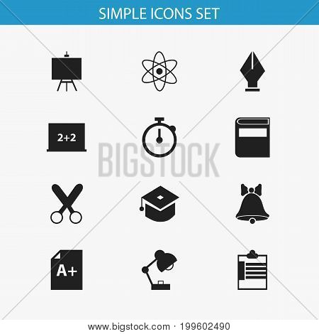 Set Of 12 Editable Education Icons. Includes Symbols Such As Nib, Page, Cutting And More