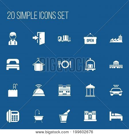 Set Of 20 Editable Plaza Icons. Includes Symbols Such As Bearings, Building, Opened Placard And More