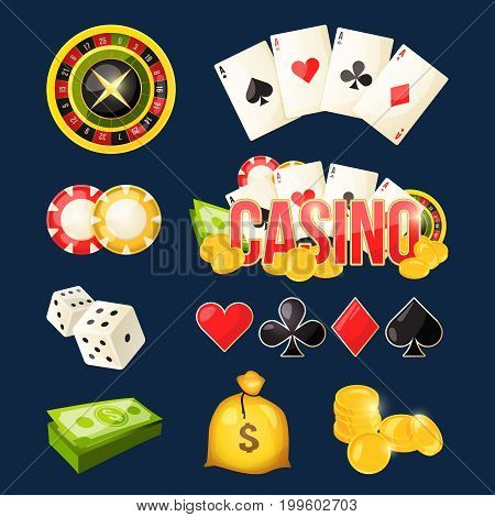 Cartoon icon collection of different games tools. Casino elements money coins and sack. Vector illustration