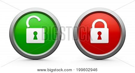 Web buttons with lock open & closed isolated on white background - security concept three-dimensional rendering 3D illustration