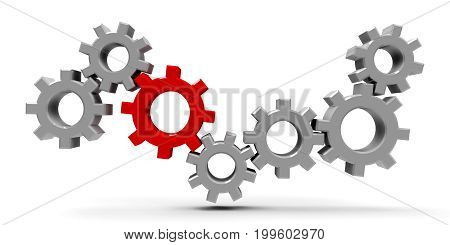 Many gears with red gear - concept of team cooperation or leadership three-dimensional rendering 3D illustration