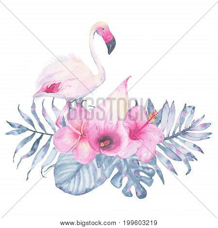 Watercolor hand painted tropical flower bouquet flamingo pink calla hibiscus frangipani and leaves of indigo palm monstera isolated on white background. Floral illustration arrangement. Botanical art