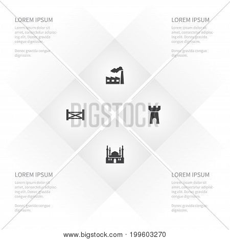 Icon Architecture Set Of Defense, Fortress, Religion And Other Vector Objects