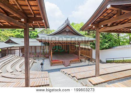 OKAZAKI JAPAN - MAY 31 2017: Noh Theatre of Second Bailey (Ninomaru Nohgakudo) in Okazaki Castle Japan. Castle was founded in 1455 by Saigo Tsugiyori shogun Tokugawa Ieyasu was born here in 1543