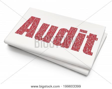 Business concept: Pixelated red text Audit on Blank Newspaper background, 3D rendering