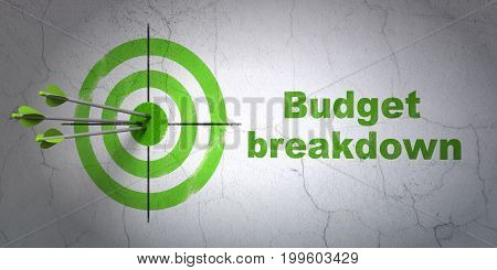 Success business concept: arrows hitting the center of target, Green Budget Breakdown on wall background, 3D rendering