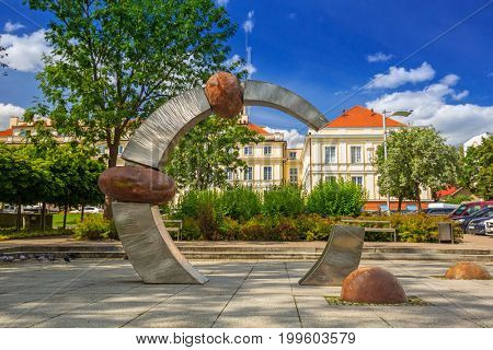 PRUSZCZ GDANSKI, POLAND - AUGUST 8, 2017: Architecture of the city hall of Pruszcz Gdanski, Poland. Pruszcz Gdanski is growing industrial town neighbouring to Gdansk.