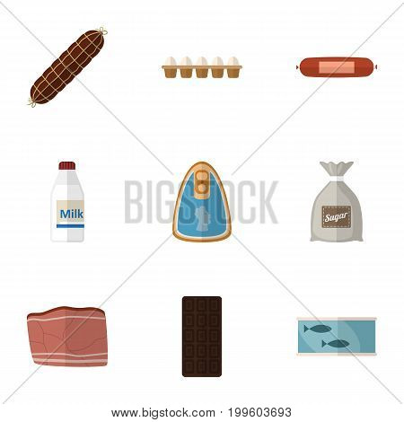 Flat Icon Meal Set Of Bottle, Canned Chicken, Beef And Other Vector Objects