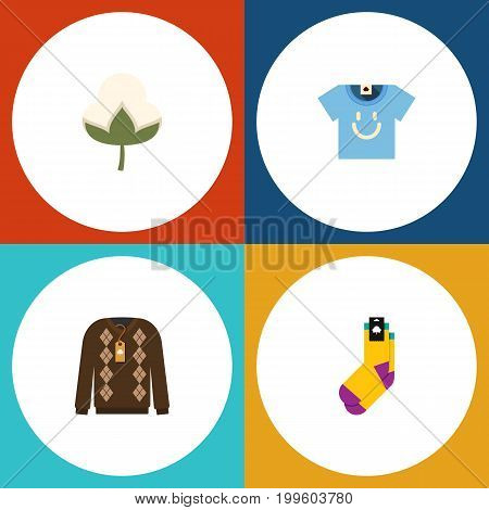 Flat Icon Cotton Set Of Blouse, Hosiery, Pullover And Other Vector Objects