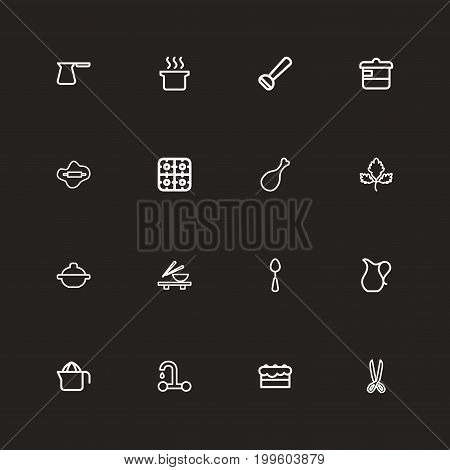 Set Of 16 Editable Cooking Outline Icons. Includes Symbols Such As Cooker, Soup Pot, Potato Peeler And More