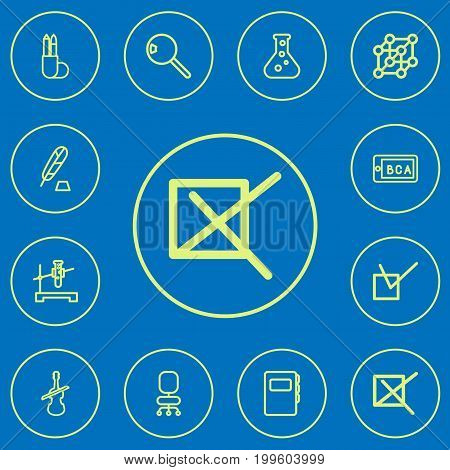 Set Of 12 Editable Teach Outline Icons. Includes Symbols Such As Mark, Cover, Flask And More