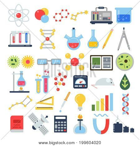 Scientific equipment for chemical testing. Science vector icon set. Chemistry science, scientific equipment and chemical tube illustration