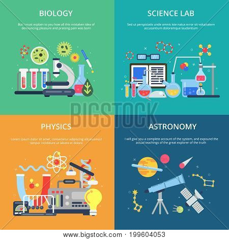 Concept pictures with science symbols. School laboratory for testing and analysis. Biology science and lab physics, astronomy and chemical experiment illustration