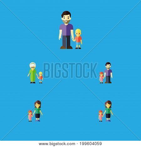 Flat Icon Relatives Set Of Grandma, Daugther, Son Vector Objects