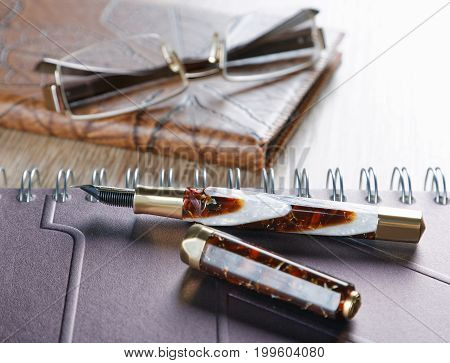 Fountain Pens And Diaries With Leather Cover