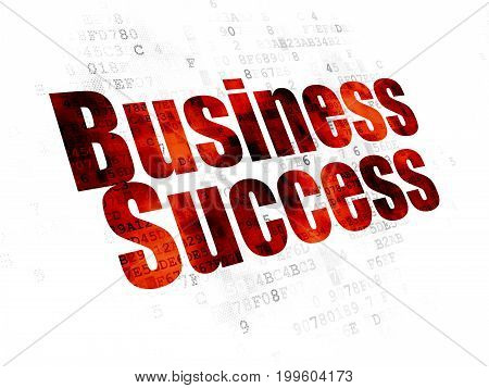 Business concept: Pixelated red text Business Success on Digital background