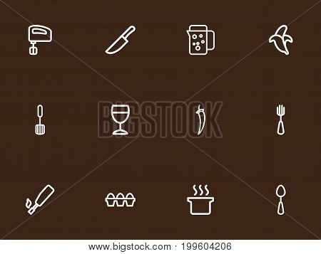 Set Of 12 Editable Meal Outline Icons. Includes Symbols Such As Chili, Tablespoon, Trowel And More
