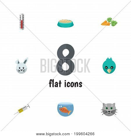 Flat Icon Pets Set Of Sparrow, Vaccine, Root Vegetable And Other Vector Objects