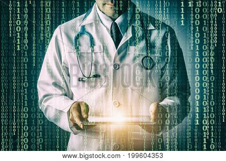 Doctor with stethoscope and tablet computer on black background still life style Technology binary code to treat patients concept.