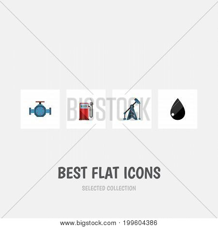 Flat Icon Oil Set Of Droplet, Petrol, Flange And Other Vector Objects