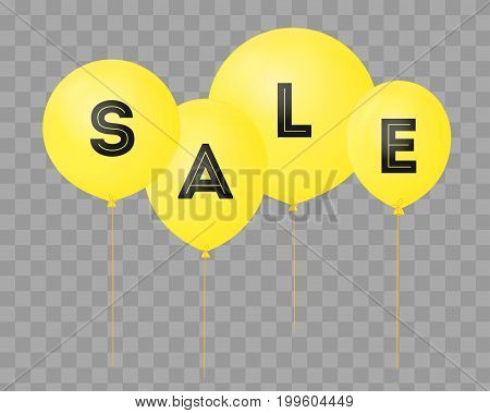 Flying balloons, concept of SALE for shops. Four red flying party balloons isolated with text SALE on transparent. Discount concept vector illustration.
