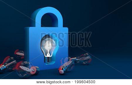 Bulb Lights, Copyright Protect And Lock Creative Idea