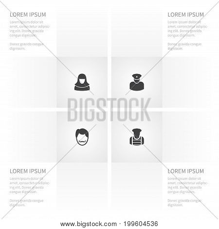 Icon Human Set Of Security Man, Whiskers, Policeman And Other Vector Objects