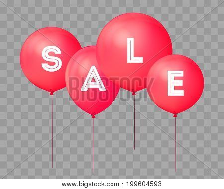 Flying balloons, concept of SALE for shops. Four red flying party balloons isolated with text SALE on transparent. Discount concept vector illustration