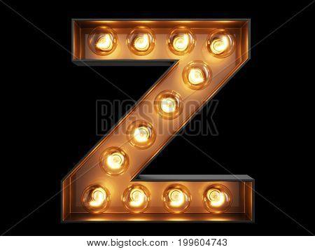 Light Bulb Alphabet Character Z Font