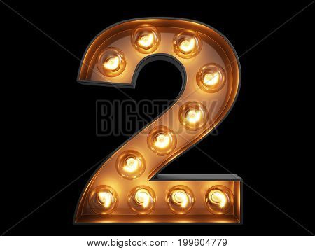 Light Bulb Digit Alphabet Character 2 Two Font