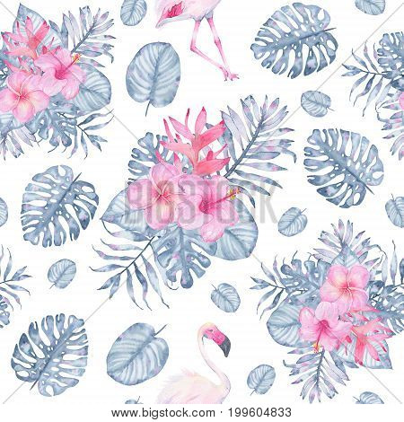 Watercolor tropical seamless pattern hand painted with flamingo pink hibiscus frangipani heliconia and leaves of indigo palm monstera isolated on white background. Floral illustration. Botanical art