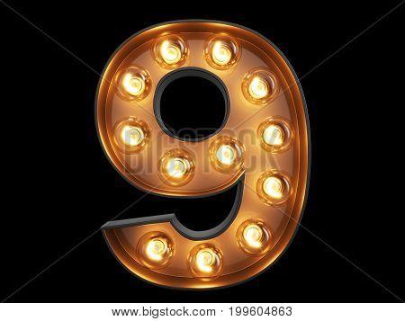 Light Bulb Digit Alphabet Character 9 Nine Font
