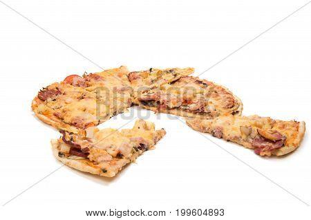 Pizza italian fastfood isolated on white background